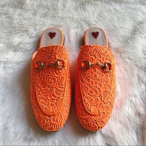 Gucci Orange Lace Princetown Loafer Mules